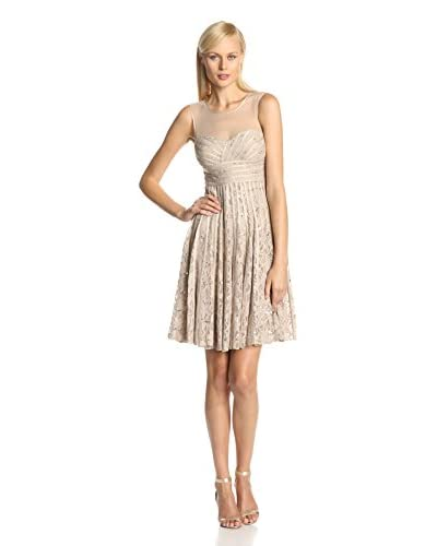 JS Collection Women's Illusion Neck Fit-and-Flare Dress