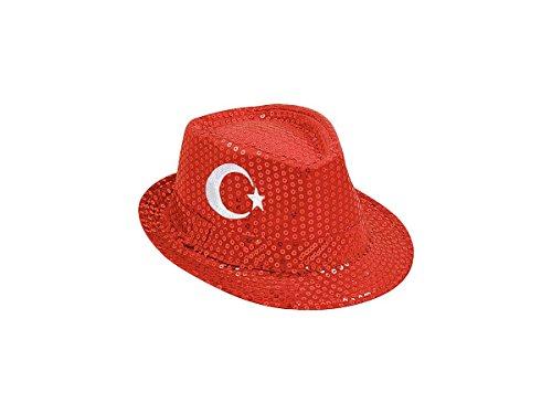 Cappello fedora borsalino con paillette colori di bandiera Turchia (TH-71) per tifosi calcio accessorio stadio ultras europei mondiali coppa carnevale festa spettacolo turco Türkyie