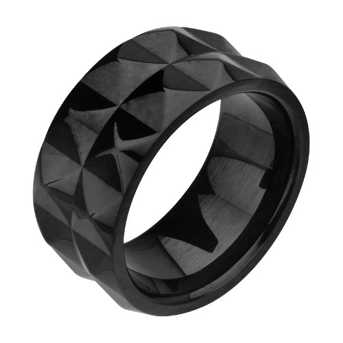 Size 8 -Inox Jewelry Stainless Steel Black PVD Pyramid Stud Ring