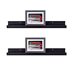 WELLAND Photo Ledge Picture Display Wall Shelf Gallery, 24 Inch x 4 Inch x 2 Inch, Set of 2, Espresso