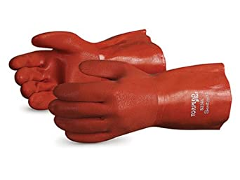 """Superior S230 Torpedo Plus Seamless Cotton Knit Glove with Soft Flexible PVC Coating, Work, Chemical Resistant, 13 Gauge Thickness, 12"""" Length, X-Large, Orange (Pack of 1 Dozen)"""