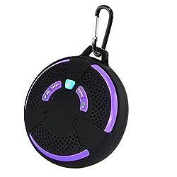 Waterproof Bluetooth Speaker Megedream Wireless Portable IPX6 Bluetooth 3.0 EDR Audio Stereo Speakerphone Built-in Mic Spearker for iPhone Ios Samsung Android Smartphones Tablets Desktop PC Purple