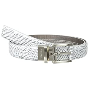 Calvin Klein Women's Metallic Lizard Reversible Belt, Pewter, Medium