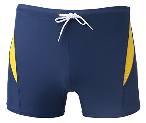 Linemoon Men's Solid Spliced Boxer Swimming Brief Elastic Trunks Blue 27-29 Inches (My Mystic Gems compare prices)