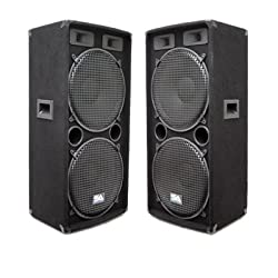 "Seismic Audio - Pair of Dual 15"" PA DJ SPEAKERS 1000 Watts PRO AUDIO - Band, Bar, Wedding, Church from Seismic Audio"