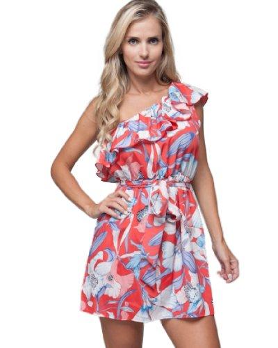 Mod 20 Women's Tropical One Shoulder Dress Red L(68W118)