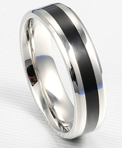 Stainless Steel Ring, Women Men Wedding Accessories Matte Black Engagement Ring Silver Epinki (Shane Co Rings compare prices)
