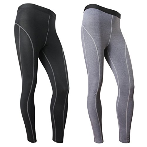 Funycell Men's Compression Tight Pants Athletic Running Leggings 2 Pack