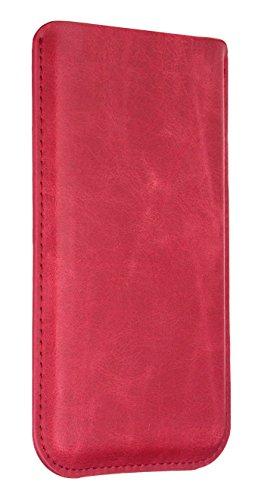 Slim Red Handytasche für Panasonic KX-PRX150 Etui Smartphone Tasche Handy Case Schutz Cover Schutztasche Schutzhülle Ledertasche Leder Hülle Lederhülle in Rot