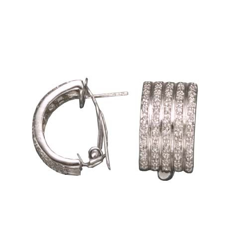 Debora's 925 Sterling Silver Hoop Earrings Rhodium Plated w/ 4-Row Channel CZ Diamonds Accent - Incl. ClassicDiamondHouse Free Gift Box & Cleaning Cloth
