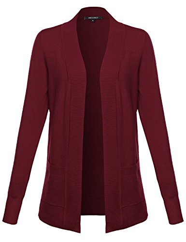 Solid Open Cardigan with Front Pockets Burgundy Size M