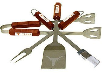 NEW Texas Longhorns Grill BBQ Utensil Set Stainless Steel With Your Favorite NCAA Team's Artwork