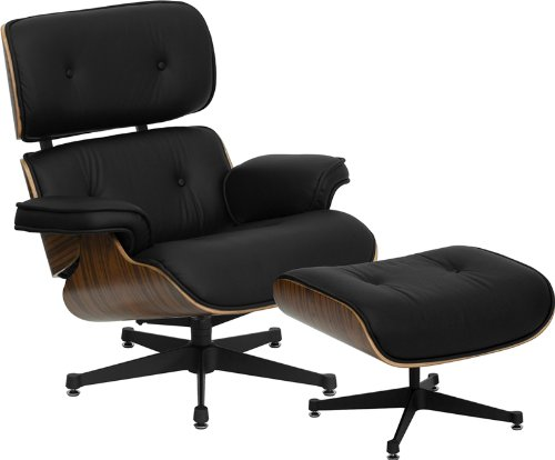 Flash Furniture ZB-PRESIDEO-CH-001-OTT-BK-GG Hercules Presideo Series Top Grain Black Italian Leather Lounge Chair and Ottoman Set with Metal Base