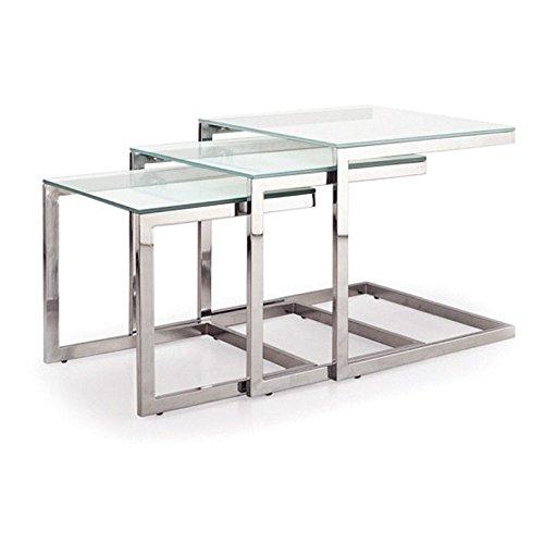 Tavolo basso estraibile in vetro TRIO verre transparent