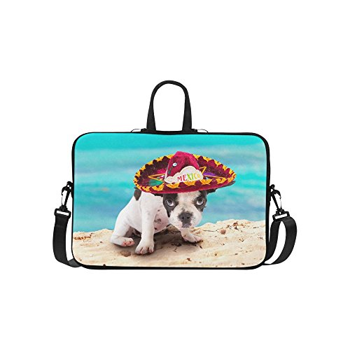 InterestPrint Classic Personalized French Bulldog Puppy Pug Dog Beach Seascape 15.4