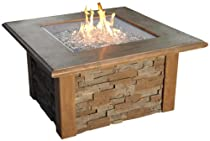 Hot Sale The Outdoor GreatRoom Company Sierra Fire Pit with Super Cast Top in Mocha with Square Burner