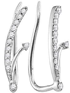 Ear Climber Diamond Earrings 10k White Gold 1/10 CTW 24 Diamonds