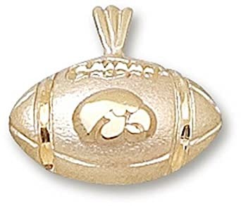 Iowa Hawkeyes Hawk Football Pendant - 14KT Gold Jewelry by Logo Art