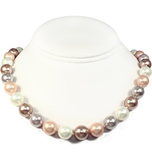 Mother of Pearl Necklace - High Polished Bronze, White, Peach & Light Gray (12mm)