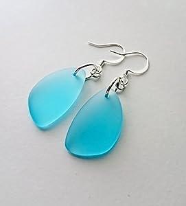 Aqua Sea Glass Earrings, Aqua Earrings, Christmas gift for her, Dangle Earrings, Sterling Silver Earrings