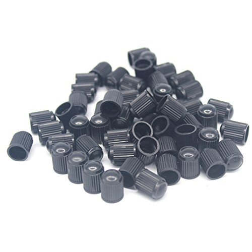 50Pcs Auto Car Truck Wheels Tire Valve Air Dust Cover Stem Cap Black Plastic (Car Tire Valve Caps Black compare prices)