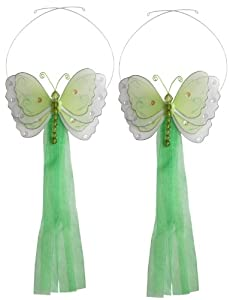 Butterfly Tiebacks Green Multi-Layered Nylon Butterflies Tieback Pair / Set Decorations - Window Curtains Holder Holders Tie Backs to Decorate for a Baby Nursery Bedroom, Girls Room Wall Decor, Wedding Birthday Party, Bridal Baby Shower, Bathroom, Curtain Decoration