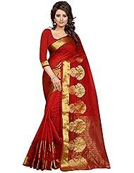 Stutti Fashion Self Design Womens Red Cotton Silk Saree