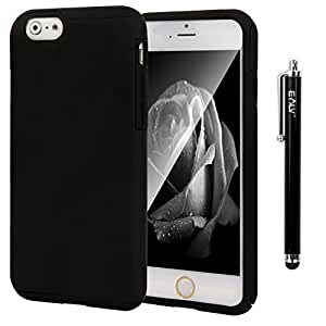 iPhone 6s/ iPhone 6 Case, E LV Two Tone Dual Layer Armor Protective Case Cover for AppleiPhone 6s/ iPhone 6 4.7-inch with 1 Stylus, 1 Screen Protector and 1 Microfiber Digital Cleaner -BLACK/BLACK