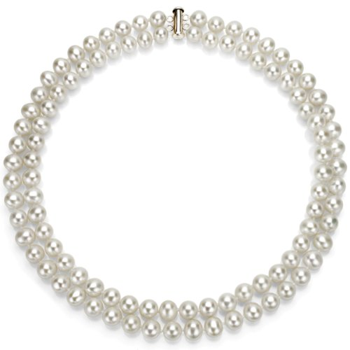 Sterling Silver 2 Rows 8-9mm White Genuine Cultured Freshwater Pearl High Luster Necklace 17