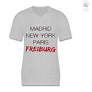 L151 Herren Männer Shirt V-Ausschnitt leicht figurbetont gerade geschnitten V-Neck T-Shirt Victory - Städte - Weltstadt Freiburg