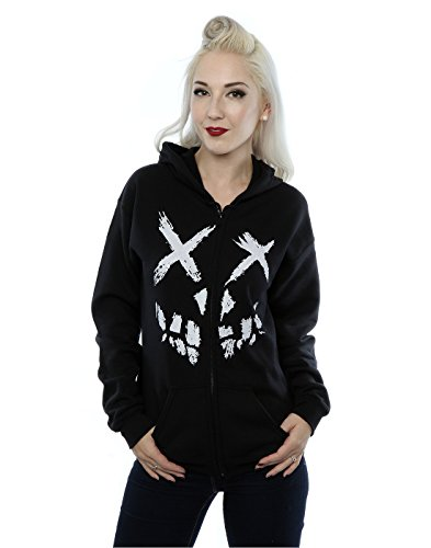 Suicide Squad Donna Skull Face Zip Up Felpa con cappuccio Small Nero