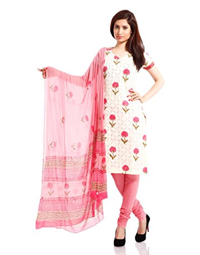Pinkshink Womens Cotton Unstitched Salwar Suit Dress Material (Psd09 _off-White _Free Size)