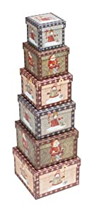 Gift Boxes - Vintage Snowman and Father Christmas square [Nest of 6]
