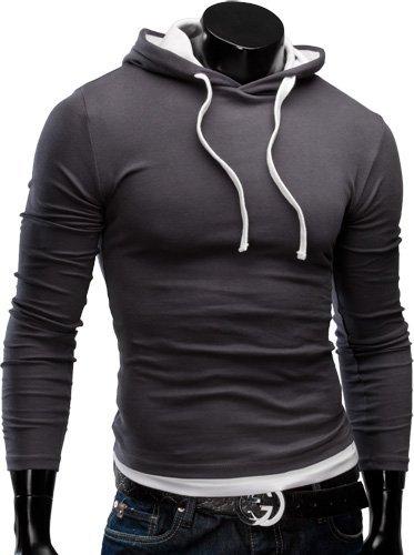 MERISH Pulli Slim Fit Kapuzenpullover Longsleeve Pullover Jacke Shirt 06 Dunkelgrau M Picture