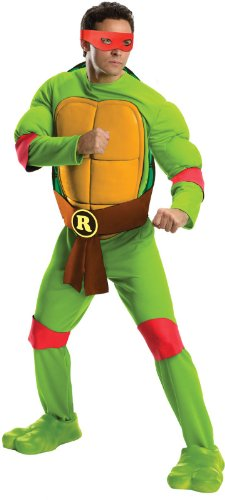 Official Men's Teenage Mutant Ninja Turtles Deluxe Raphael Costume - Standard or XL.