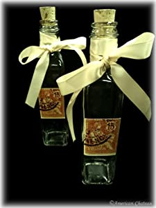 Set 2 Orange Stamp Glass Cruet Bottles Jars Oil Vinegar