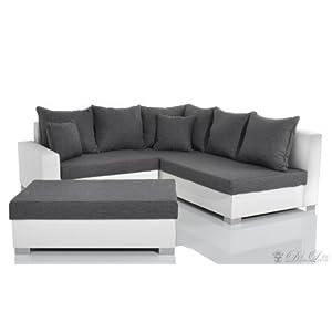 bewertungen ecksofa lavello 210 210 weiss grau napalon leder sofa hocker sofas test. Black Bedroom Furniture Sets. Home Design Ideas