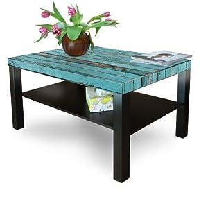 Grande table basse d appoint en bois avec motif bois bleu pas cher salon ta - Grande table basse pas cher ...