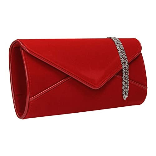 Perry Suede Velvet Envelope Clutch Bag Evening Purse Party Prom Wedding
