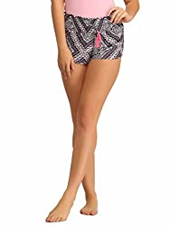 Clovia Chic Printed Shorts With Pockets In Navy