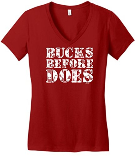 Bucks Before Does, Funny Hunting Juniors V-Neck Large Classic Red