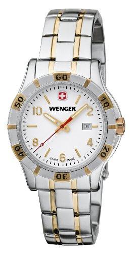 Wenger Platoon 01.9211.105 - Reloj analógico de cuarzo para mujer, correa de acero inoxidable chapado color plateado (agujas luminiscentes)