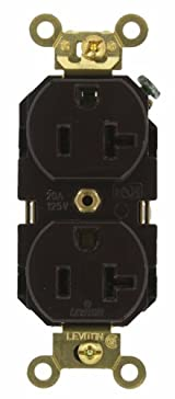 20 Amp, Duplex Receptacle, Industrial Extra Heavy Duty Grade, Straight Blade, 125 Volt, Self Grounding, Brown/Black/Gray/Ivory/Red/White, 5362
