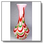 Murano Glass Vase Mouth Blown Rainbow Flame Swirls Vase