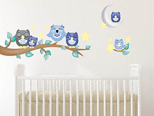 Sunny Decals 139B Owl Fabric Wall Decals with Branch (Set of 6)