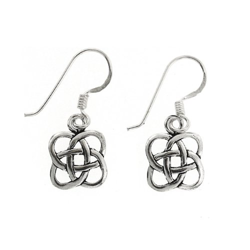 .925 Sterling Silver Nickel Free Holy Quad Knot Celtic Irish Ornament French Hook Earrings