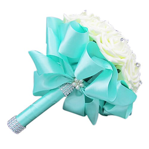 TOOGOO(R) Beautiful Wedding Bouquet Bridal Bridesmaid Flower wedding bouquet artificial flower rose bouquet white bridal bouquets-Turquoise Ribbon
