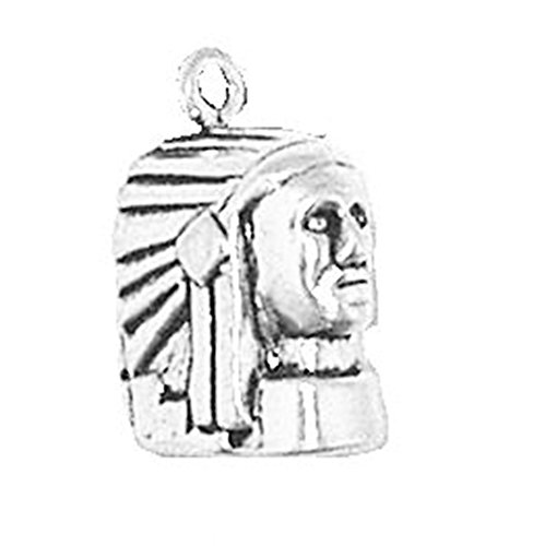 925 Sterling Silver Chief'S Head Charm Pendant Native American Indian Wild West Warrior Leader Feather Headdress