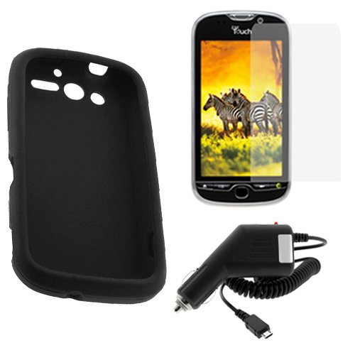 GTMax 3 Pieces-Car Charger+Black Silicone Skin Soft Case+LCD Screen Protector For HTC MyTouch 4G Cell Phone