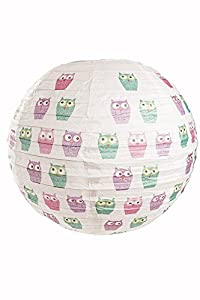 west5products Childrens Nursey / Room Owl Design Paper Globe Hanging Ceiling Lamp / Light Shade 35cm Dia from west5products